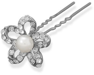 Crystal Flower Fashion Hair Pin - DISCONTINUED