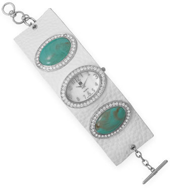 "7.5""+1"" White Leather and Imitation Turquoise Fashion Watch"