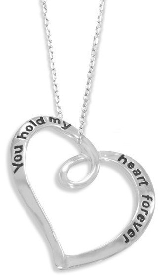 "18"" ""You Hold My Heart Forever"" Necklace 925 Sterling Silver"