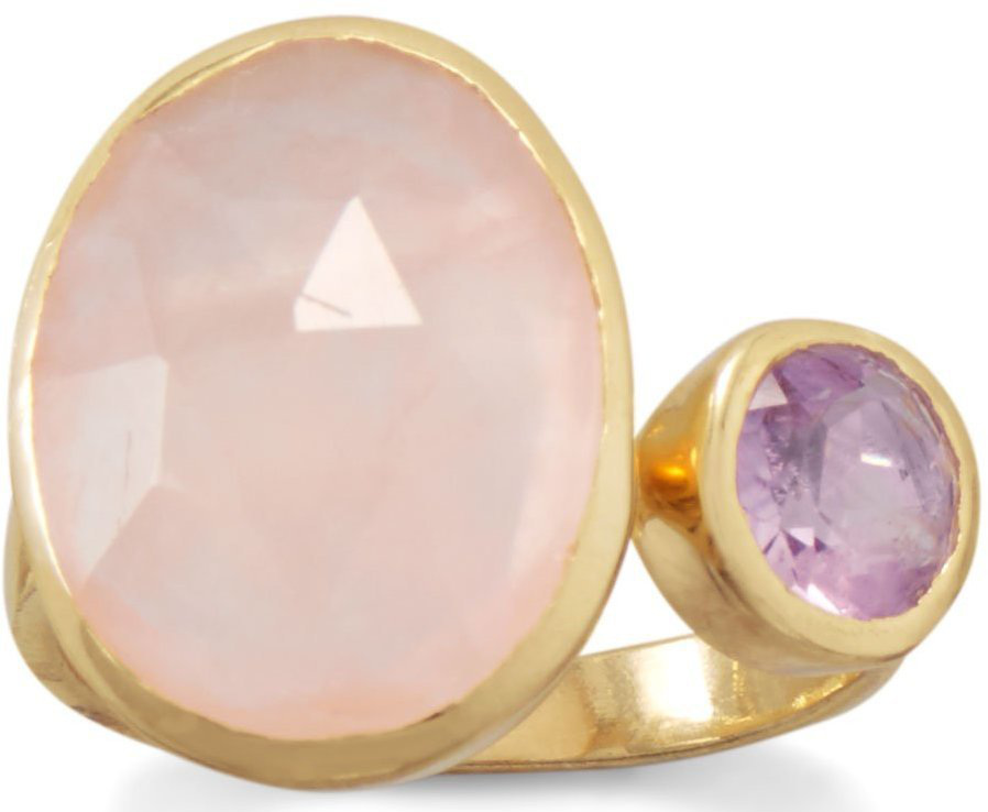 Gold Plated Amethyst and Rose Quartz Split Ring 925 Sterling Silver
