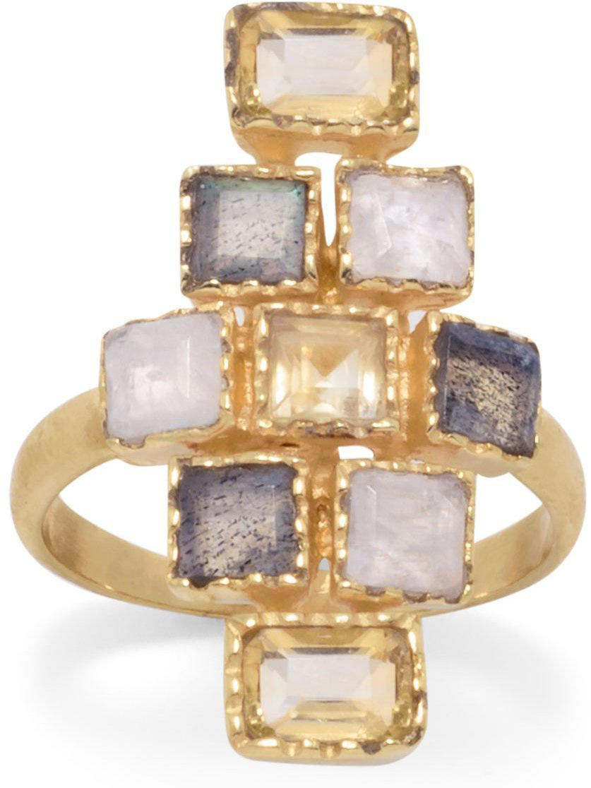 Gold Plated Citrine, Labradorite & Moonstone Checkered Ring 925 Sterling Silver