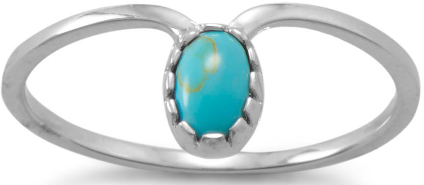 Rhodium Plated Reconstituted Turquoise Drop Ring 925 Sterling Silver