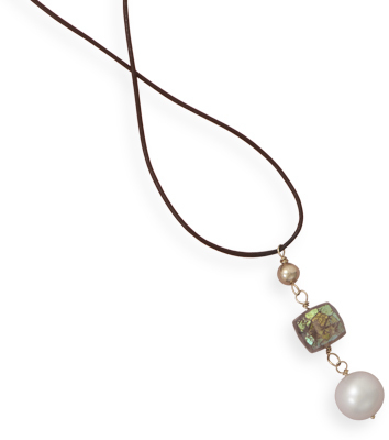 "16"" 14K Yellow Gold & Leather Necklace with Multibead w/ Quartz & Pearl Drop"