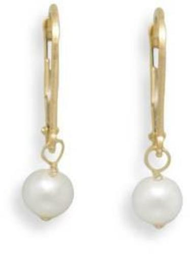 "5-5.5mm (0.2""-0.22"") Freshwater Pearl Drop Earrings with 14K Yellow Gold Lever Back"