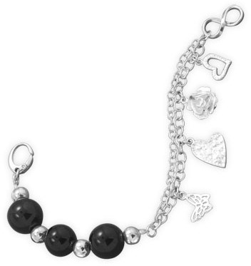 "7.5"" Black Onyx Bracelet with Charms 925 Sterling Silver"