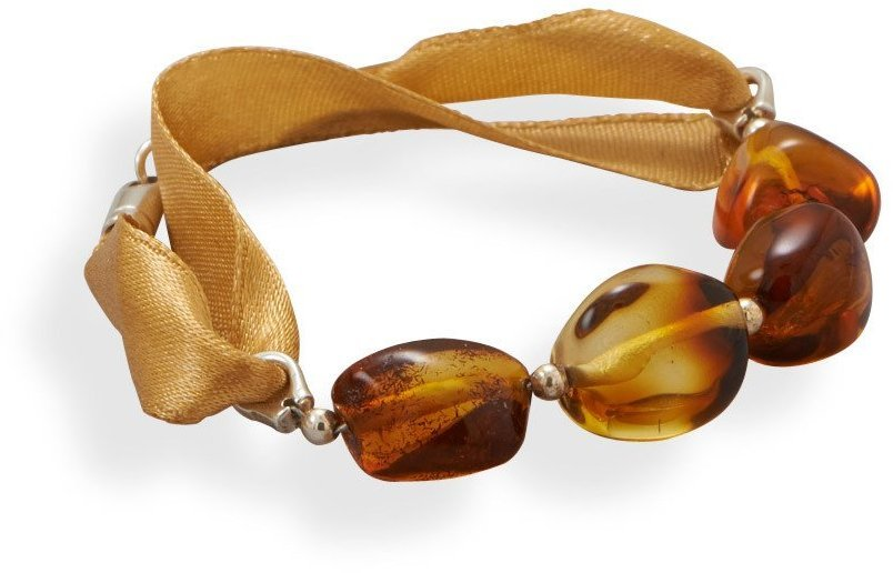 "7"" Ribbon Bracelet with Baltic Amber 925 Sterling Silver"