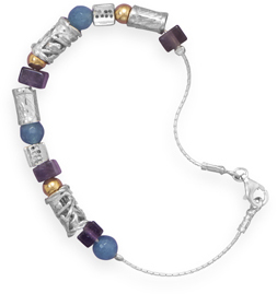 "7.5"" Bracelet with Amethyst, Agate and 12/20 Gold Filled Beads 925 Sterling Silver"