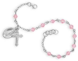 "7"" + .5"" Crystal Rosary Charm Bracelet 925 Sterling Silver"