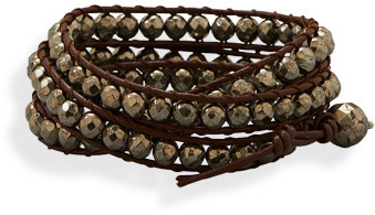 "23"" Leather and Pyrite Wrap Fashion Bracelet"