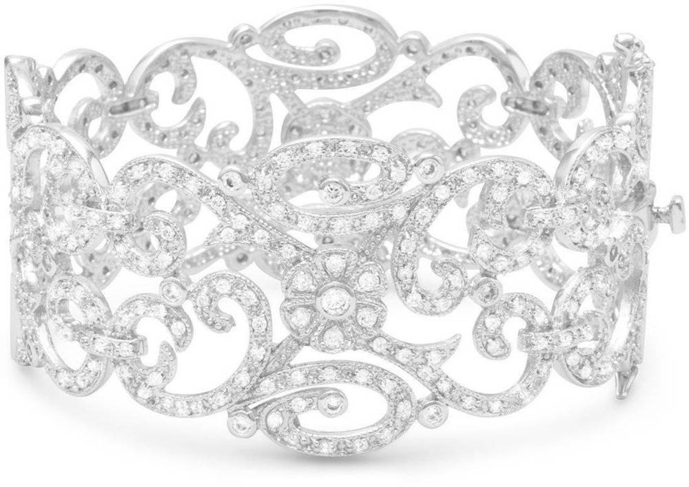 Rhodium Plated Vintage CZ Hinged Bracelet 925 Sterling Silver