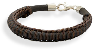 "7.25"" Leather and Cord Bracelet 925 Sterling Silver"