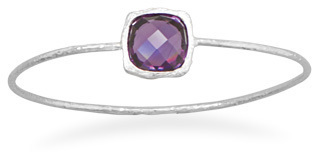 Textured Purple CZ Bangle 925 Sterling Silver