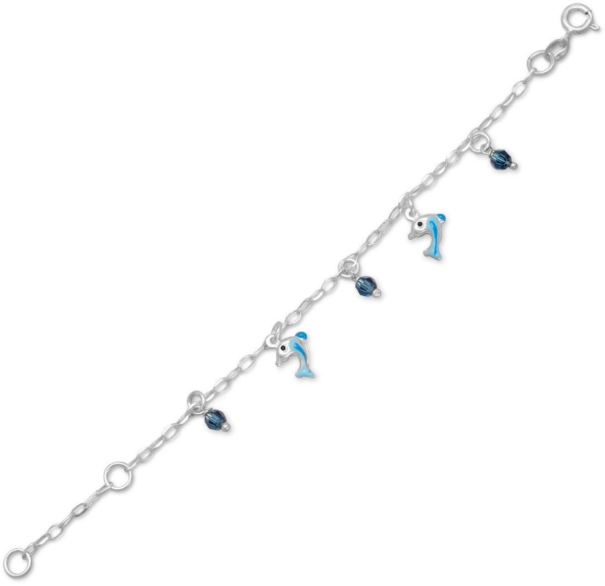 "5"" + 1"" Crystal and Dolphin Charm Bracelet 925 Sterling Silver"