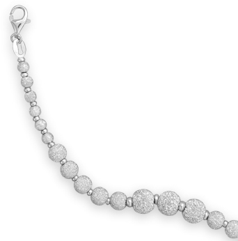 "7.5"" Rhodium Plated Stardust Bead Bracelet 925 Sterling Silver"