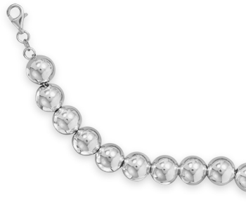 "8.5"" Rhodium Plated Bead Bracelet 925 Sterling Silver"
