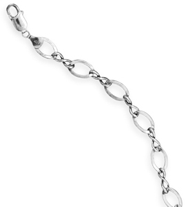 "8"" Oxidized Large Figure 8 Chain Bracelet 925 Sterling Silver"