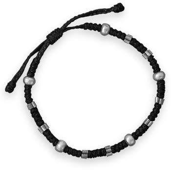 Adjustable Macrame Beaded Bracelet 925 Sterling Silver