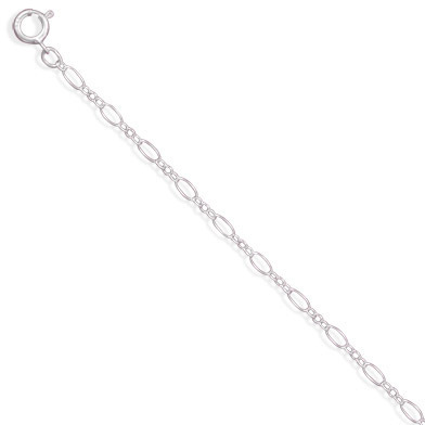 "24"" Large and Small Alternating Link Chain 925 Sterling Silver"