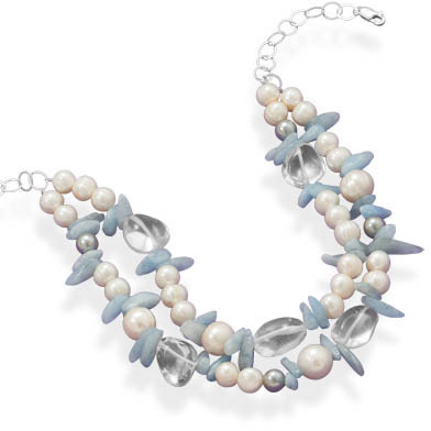 "16"" + 2"" Cultured Freshwater Pearl, Aquamarine and Quartz Necklace 925 Sterling Silver"