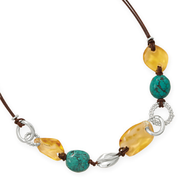 "18"" Leather Necklace with Baltic Amber and Turquoise 925 Sterling Silver"