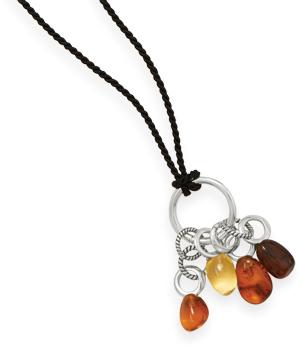 "30"" Cord Necklace with Baltic Amber 925 Sterling Silver - DISCONTINUED"