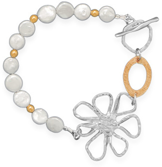 "8"" Cultured Freshwater Coin Pearl Toggle Bracelet 925 Sterling Silver"