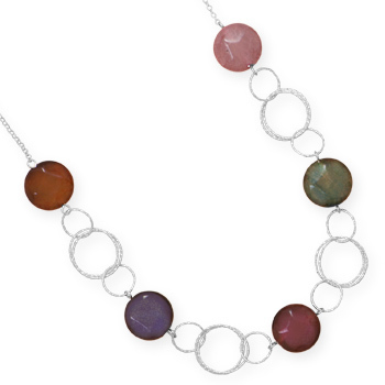 "16"" Diamond Cut Necklace with Colorful Agate 925 Sterling Silver - DISCONTINUED"