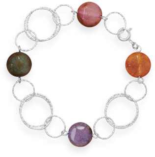 "7.5"" Diamond Cut Bracelet with Colorful Agate 925 Sterling Silver"