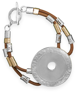 "8.5"" Leather Toggle Bracelet with Two Tone Beads 925 Sterling Silver"