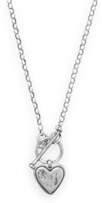"18"" Heart Toggle Necklace 925 Sterling Silver"
