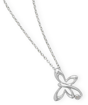 "18"" Butterfly Necklace with Diamond Accent 925 Sterling Silver"