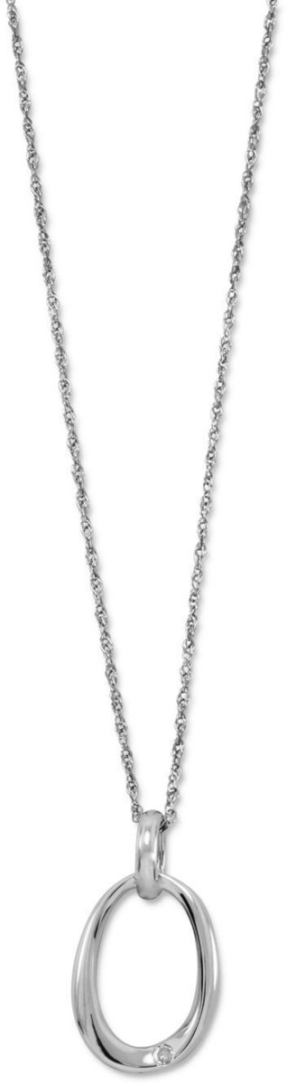 "18"" Oval Necklace with Diamond Accent 925 Sterling Silver"