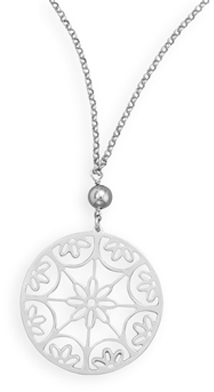 "18"" Rhodium Plated Flower Design Necklace 925 Sterling Silver"