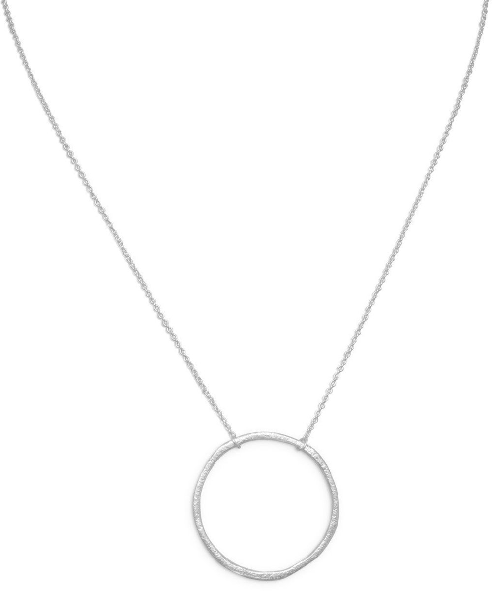 "16"" Textured Circle Necklace 925 Sterling Silver"