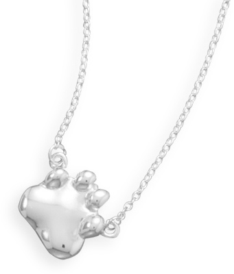 "16"" Paw Print Necklace 925 Sterling Silver"