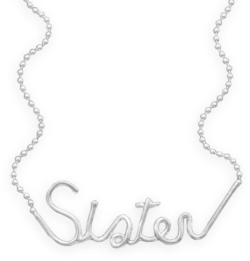 "18"" ""Sister"" Necklace 925 Sterling Silver - DISCONTINUED"