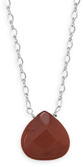 "16.5"" + 2"" Red Jasper Drop Necklace 925 Sterling Silver"