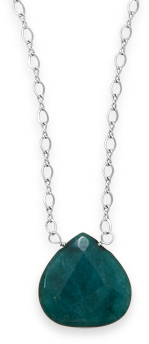"16.5"" + 2"" Green Jade Drop Necklace 925 Sterling Silver"