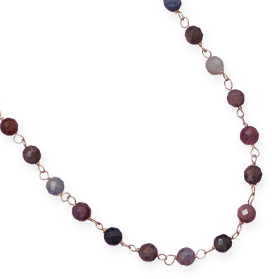 "16""+2"" Gold Filled Necklace with Faceted Ruby and Sapphire Beads"