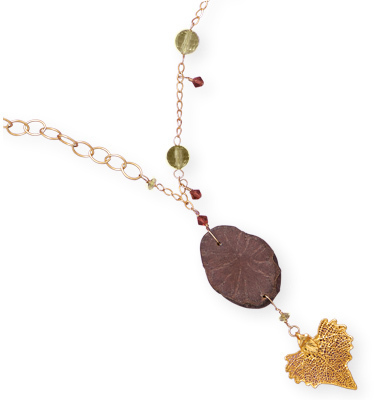 "18"" 14/20 Gold Filled Necklace with Gold Dipped Leaf Drop"