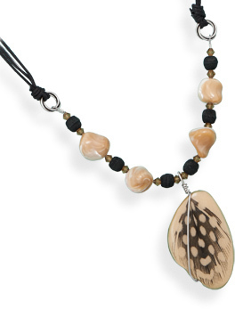 "16"" Multistrand Cord Necklace with Wood Bead Drop 925 Sterling Silver"