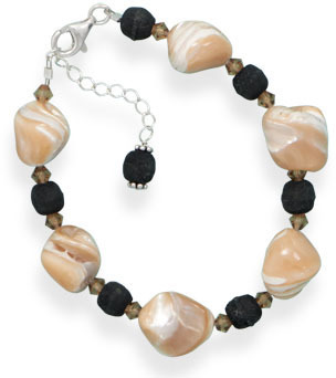 "7"" + 1"" Mother of Pearl, Wood and Crystal Bead Bracelet 925 Sterling Silver"