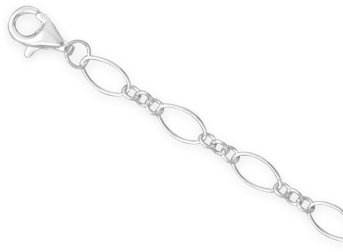 "22"" Multisize Oval Link Chain Necklace (4mm / 1/6"") 925 Sterling Silver"