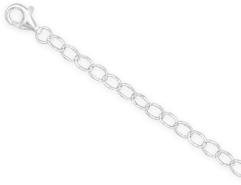 "18"" Dapped Cable Chain Necklace (3.5mm / 1/8"") 925 Sterling Silver"