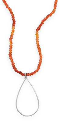 "16"" + 1"" Carnelian Necklace 925 Sterling Silver"