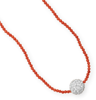 "16"" + 1"" Dyed Coral Necklace with Crystal Bead 925 Sterling Silver"
