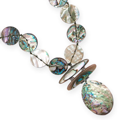 "17"" + 2"" Abalone Shell Drop Necklace 925 Sterling Silver"