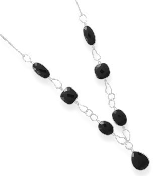 "18"" Multishape Black Onyx Necklace 925 Sterling Silver"