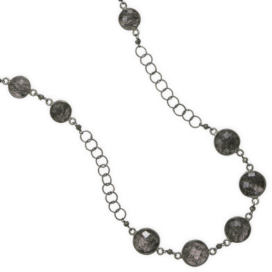 "18"" + 1.5"" Rhodium Plated Rutilated Quartz Necklace 925 Sterling Silver"