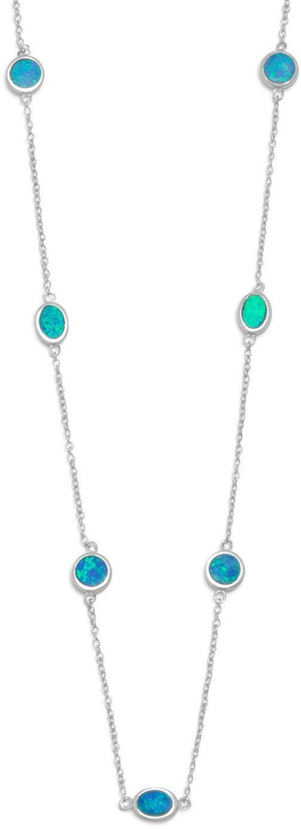 "16"" + 2"" Rhodium Plated Synthetic Blue Opal Necklace 925 Sterling Silver"